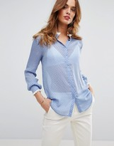 Sisley Blouse in Polka Dot with Fringe Detail