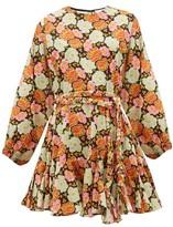 Rhode Resort Ella Floral-print Cotton Mini Dress - Womens - Brown Print