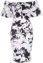 Jane Norman Floral Print Ruffle Bardot Dress
