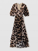 Ganni Printed Mesh Wrap Dress Maxi Leopard - 34