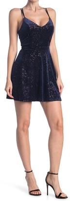Love, Nickie Lew Glitter Velvet Strappy Skater Dress
