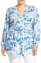 Melissa McCarthy Print Tie Waist Pintuck Blouse (Plus Size)