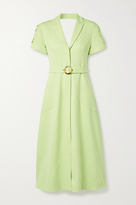 Jonathan Simkhai Helena Belted Cutout Crepe Midi Dress - Sage green