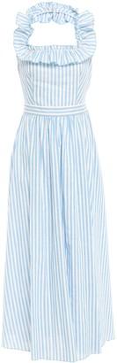 Gül Hürgel Ruffled Striped Cotton And Linen-blend Gauze Halterneck Midi Dress