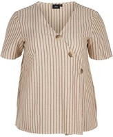 Zizzi Striped V-Neck Short-Sleeved Blouse