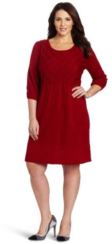 Amy Byer Women's Plus-Size Three-Quarter Sleeved Round Neck Sweater Dress