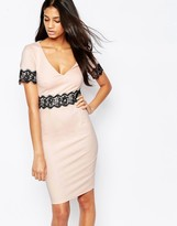 Paper Dolls Mini Dress with Contrast Lace Trim
