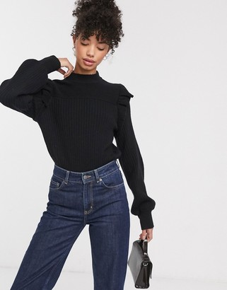 And other stories & ruffle shoulder ribbed sweater in black