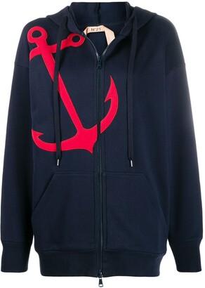No.21 Anchor Applique Hoodie
