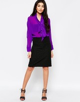 Liquorish Pencil Skirt In Mini Star Jacquard