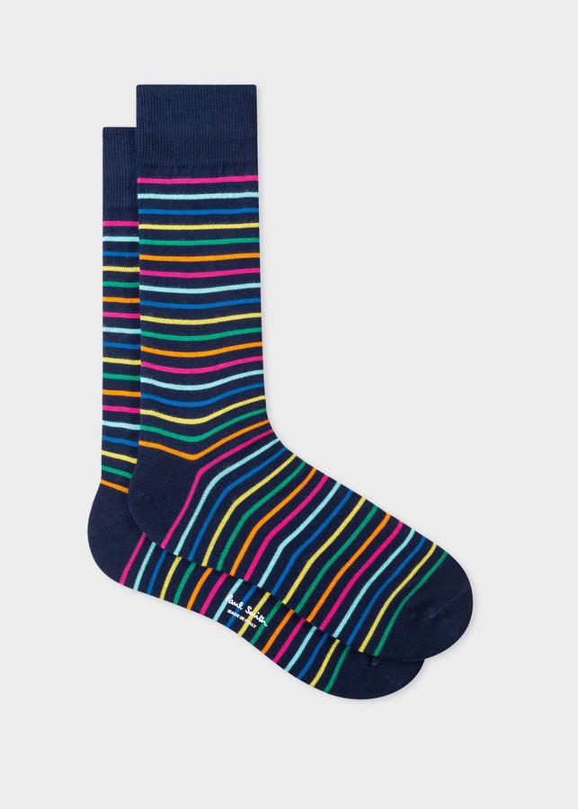 Paul Smith Men's Navy Multi-Coloured Stripe Socks