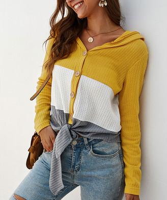 Gaovot Women's Blouses yellow - Yellow & Gray Color Block Waffle-Knit Button-Up Top - Women