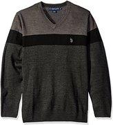 U.S. Polo Assn. Men's All Over Stripe V-Neck Sweater