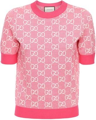 Gucci Gg Jacquard Knit Wool & Cotton Top
