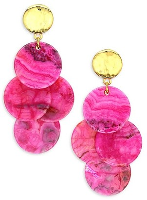 Nest Mini 22K Goldplated & Magenta Agate Stone Drop Earrings