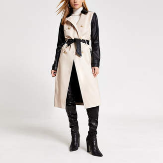 River Island Beige faux leather blocked belted trench coat