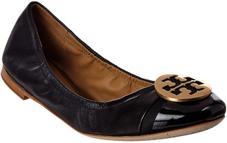 Tory Burch Minnie Cap-Toe Leather Ballet Flat