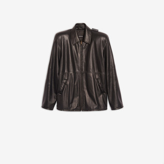 Balenciaga Tattoo Leather Jacket in black embroidered soft leather