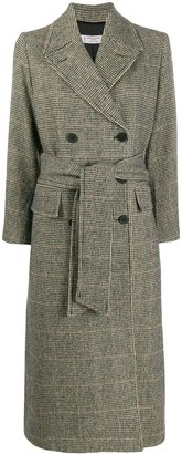 Alberto Biani Double-Breasted Houndstooth Coat