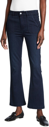 Paige Claudine Flare-Leg Jeans with Patch Pockets