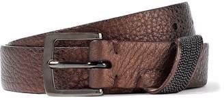 Brunello Cucinelli Bead-embellished Metallic Textured-leather Belt