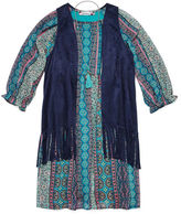 Speechless 3/4-Sleeve Peasant Dress with Fringe Vest - Girls 7-16 and Plus