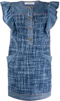 Philosophy di Lorenzo Serafini Sleeveless Ruffled Denim Dress