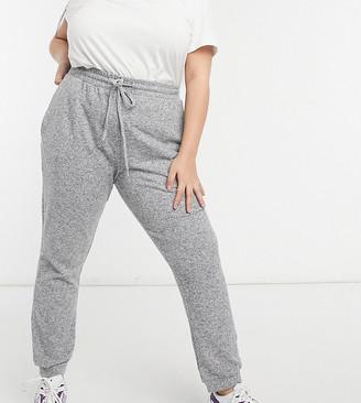 ASOS DESIGN Curve supersoft slim leg jogger in grey marl