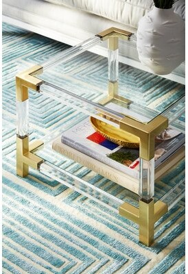 Jonathan Adler Jacques Glass Top End Table with Storge