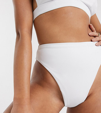ASOS DESIGN recycled petite mix and match high leg high waist bikini bottom in white