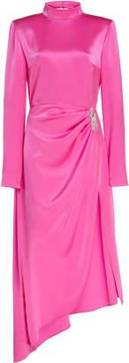 David Koma Crystal Brooch Open-Back Satin Dress