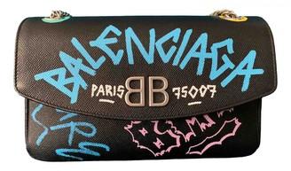 Balenciaga BB Round Black Leather Handbags