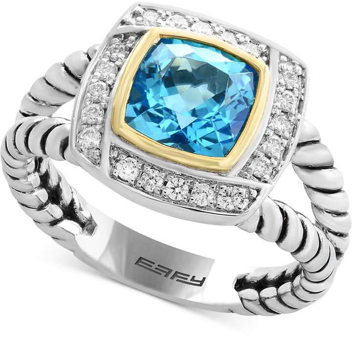 Effy Blue Topaz (1-3/4 ct. t.w.) & Diamond (1/8 ct. t.w.) Ring in Sterling Silver & 18k Gold