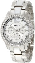 XOXO Women's XO5479 -Tone And White Bracelet with Rhinestones Bezel Watch