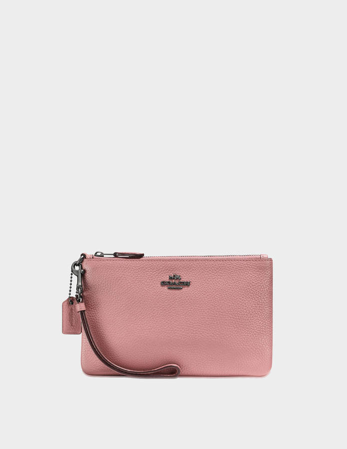 Coach Small Wristlet Pouch in Pink Calfskin