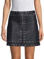 Alice + Olivia Riley Studded Leather And Lace Mini Skirt