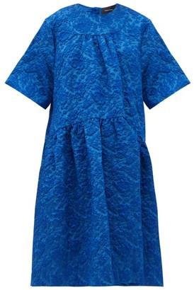 Simone Rocha Oversized Cloque Midi Dress - Blue