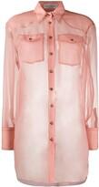 Brunello Cucinelli silk long-sleeve sheer blouse