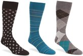 Roundtree & Yorke Gold Label Argyle Combo 3-Pack Socks