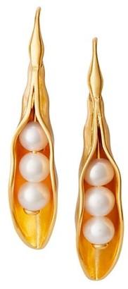 Tory Burch Peapod Faux Pearl Goldtone Drop Earrings