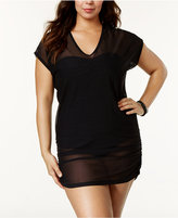 Anne Cole Plus Size Mesh V-Neck Cover-Up