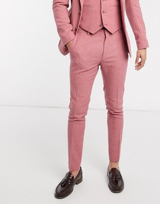 ASOS DESIGN wedding super skinny suit trousers in rose pink wool blend herringbone
