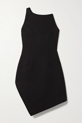 Coperni Motion One-shoulder Asymmetric Cady Mini Dress - Black