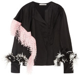 Christopher Kane Feather-trimmed Crepe De Chine Blouse - Black
