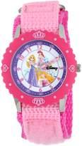 Disney Kids' W000365 Princess Stainless Steel Time Teacher Pink Bezel Pink Velcro Strap Watch