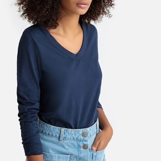 La Redoute Collections Organic Cotton T-Shirt with Long Sleeves and V-Neck