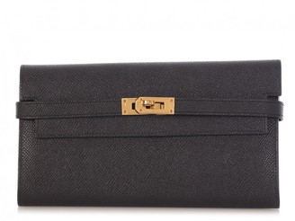 Hermes Kelly Black Leather Wallets