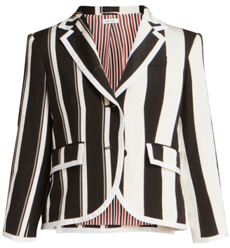 Thom Browne Unconstructed Classic Single Breasted Silk-Blend Blazer