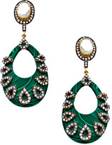 Meghna Designs Green Oval And Cz Earrings