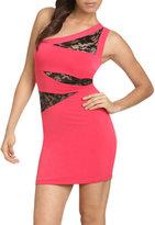 Lace Inset One Shoulder Dress